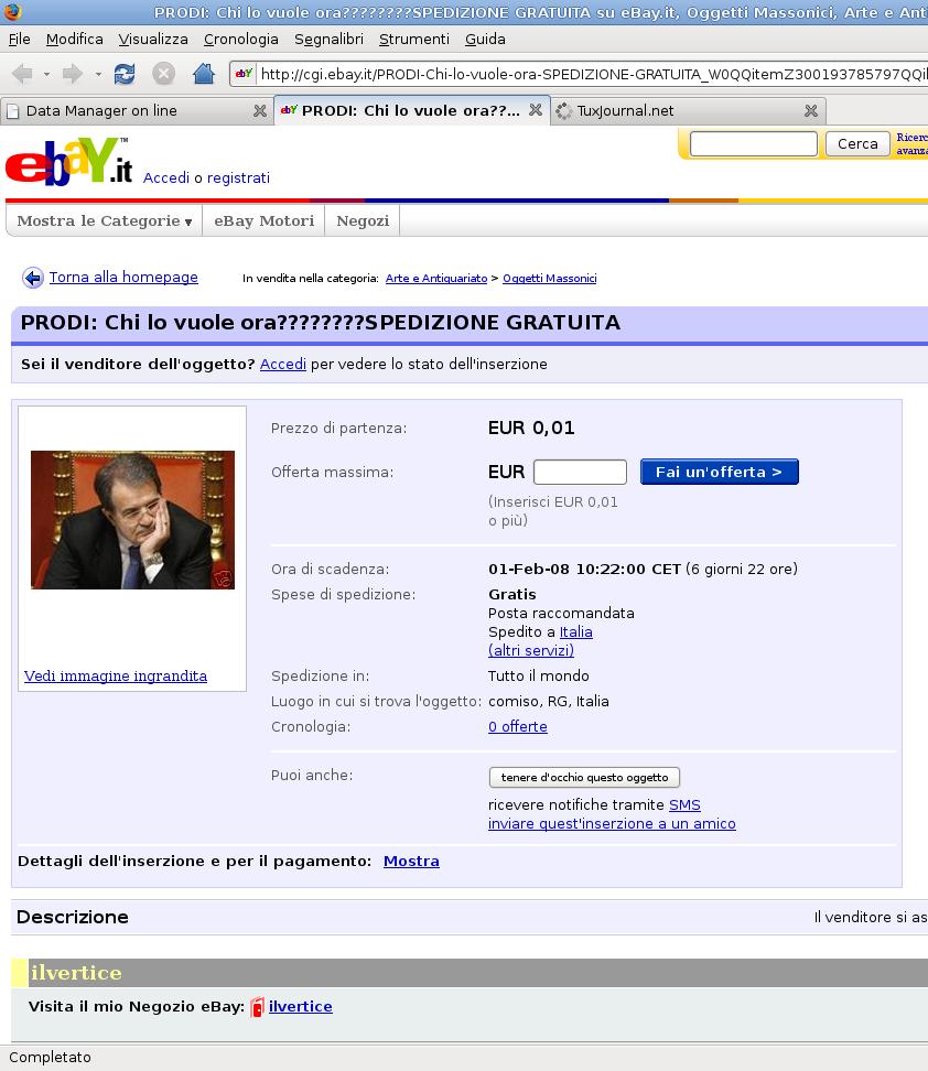 TuxPerle: Prodi all'asta su Ebay