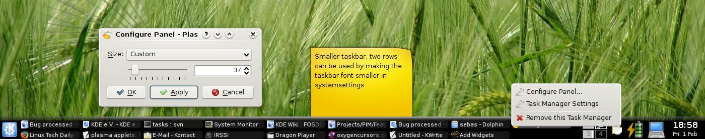 Novità per il pannello di KDE4