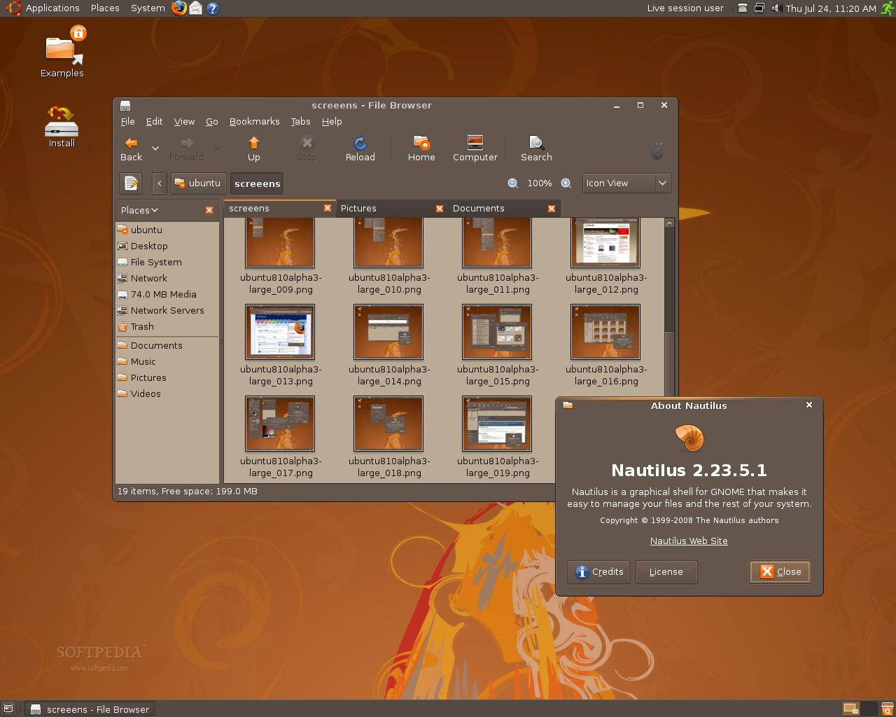 Screenshot Galley: Ubuntu 8.10, il tema e le icone