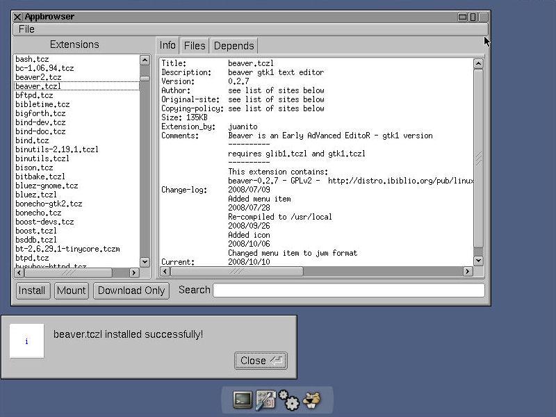 Tiny Core Linux 2.6: ora anche con le estensioni