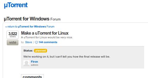 uTorrent presto anche su Linux, non è uno scherzo!