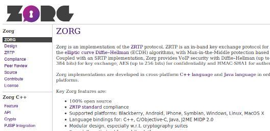 Zorg: implementazione opensource del protocollo di cifratura ZRTP
