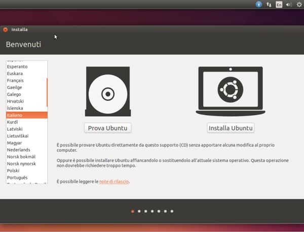 Come al solito, dopo aver avviato una copia di Ubuntu è possibile scegliere se provare la distro in modalità live o se procedere direttamente con la sua installazione.